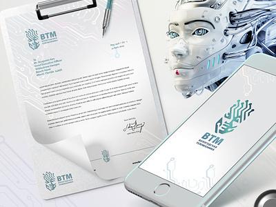 VTM-Vologda telemechanics telemechanics brand design logo mechanics of robot face logo branding