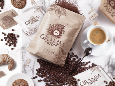 18 GRAMM coffee grammy 18 logo typography branding vector coffee