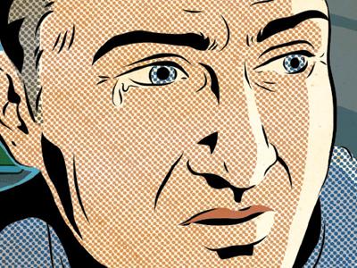 Sad Man illustration comic texture half-tone