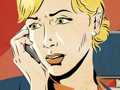 Dramatic Call illustration comic texture half-tone