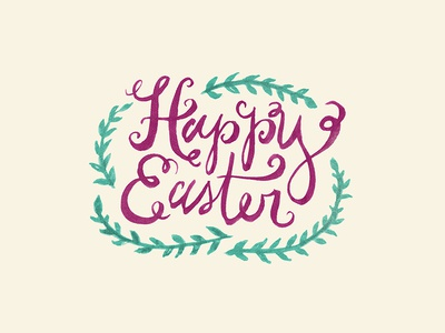 Happy Easter watercolor handlettering
