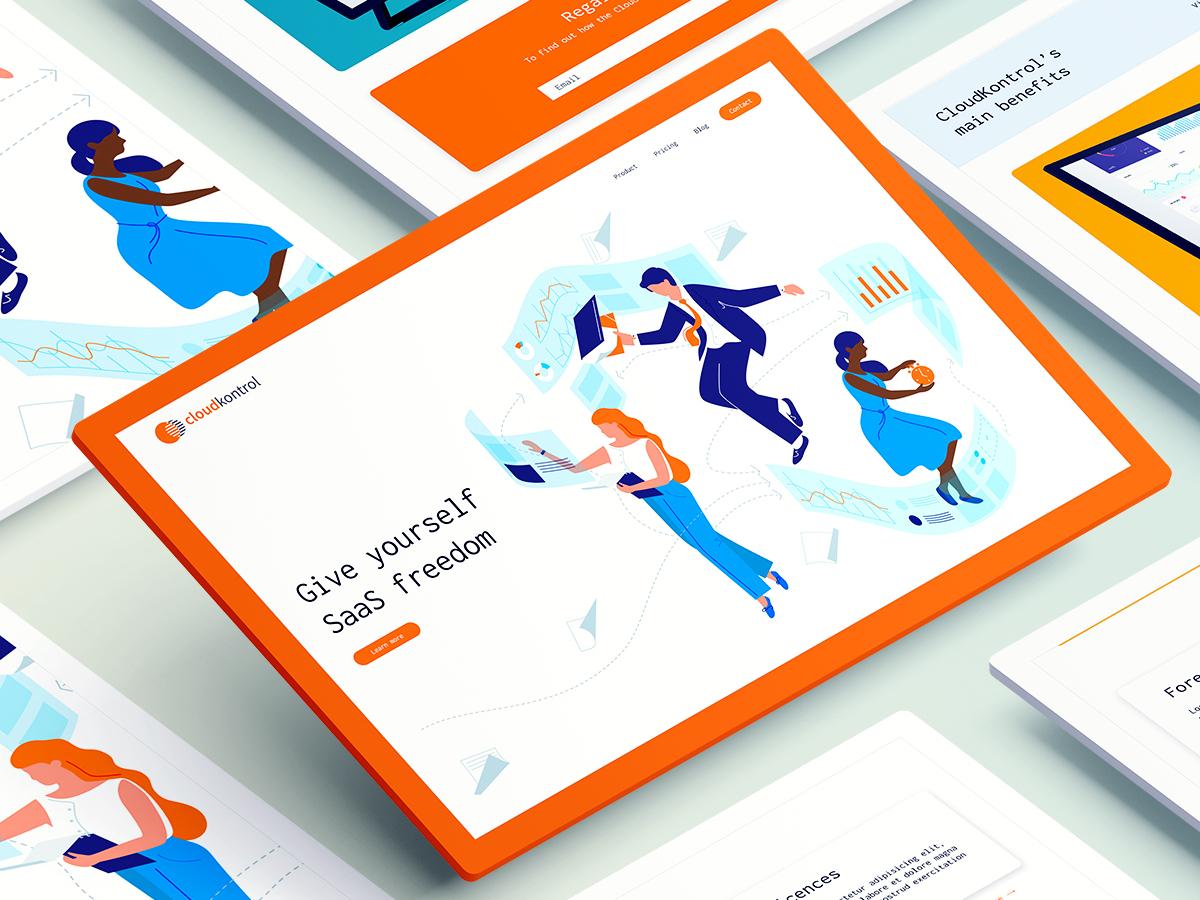 Cloudkontrol Web design creative agency ui design designer design website design website concept homepage blue orange illustrations people uiux website builder website webdesign web