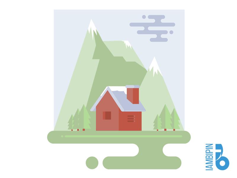 Landscape Flat Design | Ai invites clouds snowy mountains pine trees flat design landscape