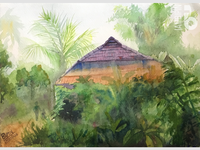 Traditional Indian House | Watercolor Painting