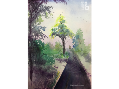 Road Amidst Lush Greenery | Watercolor Painting