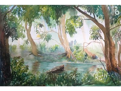 Riverside | Watercolor Painting nature greenery river riverside watercolor painting landscape illustration