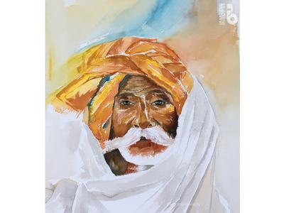 Rajasthani Man | Watercolor Painting turban man portrait painting watercolor illustration portrait