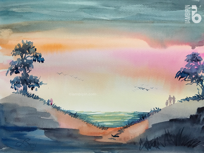 Sunset | Watercolor Painting watercolor illustration landscape painting sky trees sunset