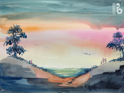Sunset | Watercolor Painting
