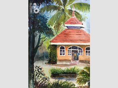 Sargalayam Craft Centre | Watercolor Painting aquarelle india kerala landscape watercolor illustration plein air
