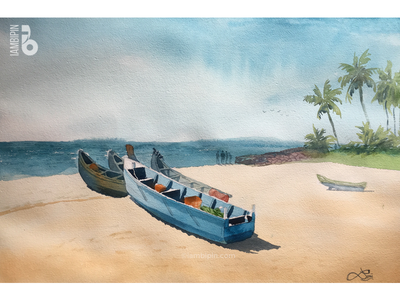 Fishing Boat | Watercolor Painting beach trees seashore fishing boat watercolor illustration