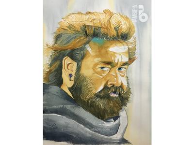 Odiyan | Mohanlal | Watercolor Painting portrait watercolor illustration mohanlal odiyan