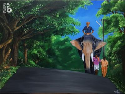 Elephant & Mahouts of Kerala | Acrylic Painting on Canvas greenery traditional art acrylic painting elephant painting on canvas landscape illustration