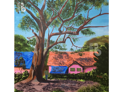 Majestic Tree | Acrylic Painting on Canvas skyblue blue sky tree painting on canvas acrylic painting traditional home