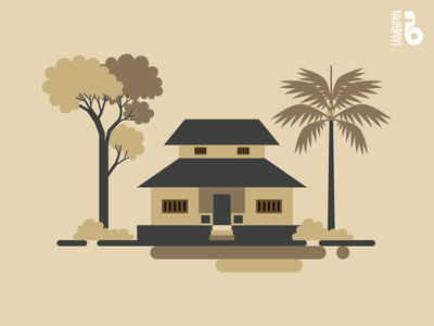 Traditional Indian Home | Vector Art | Flat Design india traditional home tree shrubs coconut tree flat  design home vector art vector
