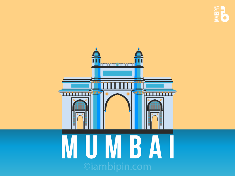 Gateway of India | Vector Art | Flat Design iambipin cityscapes india illustration flat design gateway of india mumbai bombay vectorart vector