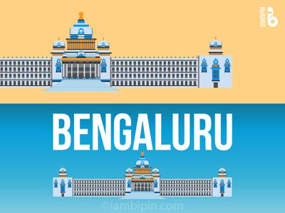Vidhana Soudha - Bengaluru(Bangalore) | Vector Art monuments india iambipin illustration vector flatdesign architecture cityscape bengaluru bangalore
