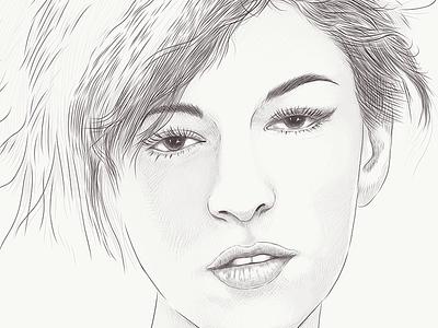 Alexandra (2K17) eye look fashion style lips hairstyle pencilsketch portrait mood girl