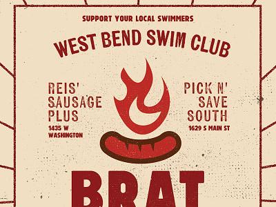 Bratfry swim club brat fry poster wisconsin