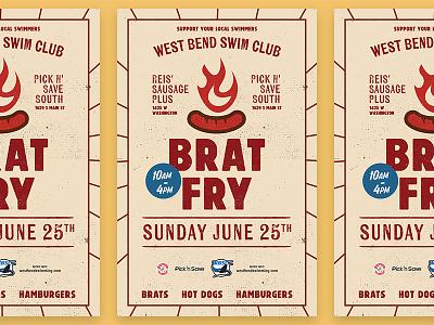 Bratfry Poster swim club hot dogs brat fry poster fundraiser hamburgers brats wisconsin