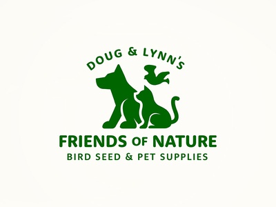Friendsofnature pet supply logo bird cat dog pets