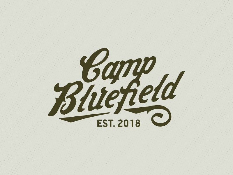 Camp Bluefield lettering logo camp