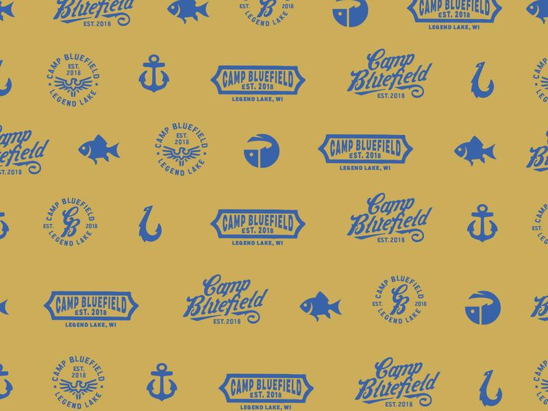 Pattern branding logo cabin lake camp pattern