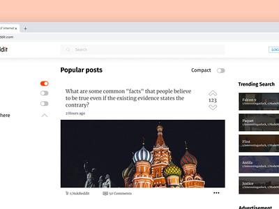 Reddit Redesign - Post minimalist minimal homepage flat affinity designer figma web design web ux ui navigation modern desktop design concept brand design redesign