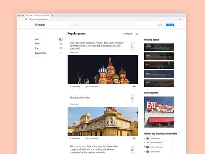 Reddit Redesign - Homepage redesign minimalist minimal homepage flat affinity designer figma web design web ux ui navigation desktop design concept brand design