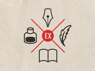 Ex Libris Anonymous gets cresty logo mark icon crest feather journal book nib