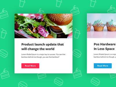Food Delivery Newsletter Modules modal module branding bright green cake smoothie burger icons food ui newsletter