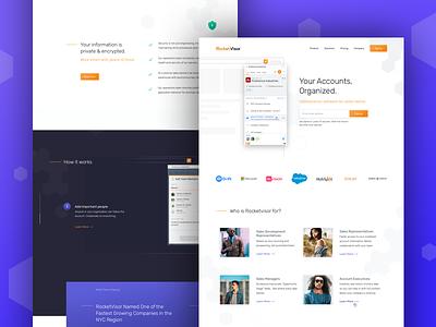 RV Home Page gradient minimal charcoal orange purple hexagon ux ui design web browser