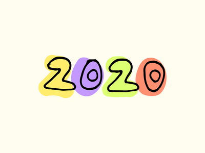 Happy New Year! purple yellow colours colour lettering offset overlay numbers typeface type outline colorful colors new years 2020 new year hand drawn hand lettering handlettering illustration