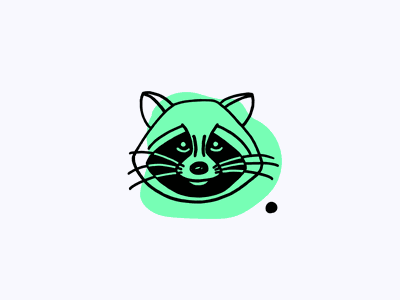 Trash Panda Icon outline hand drawn bright green trash panda raccoon animal weekly warm-up vector clean icon design illustration
