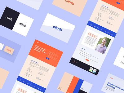 Climb Brand Roll-out finance purple orange brand book landing page identity color angle brand branding minimal design web clean ui