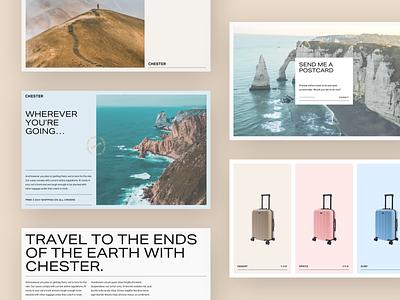 Chester Brand suitcase luggage travel polaroid postcard photography brand minimal branding