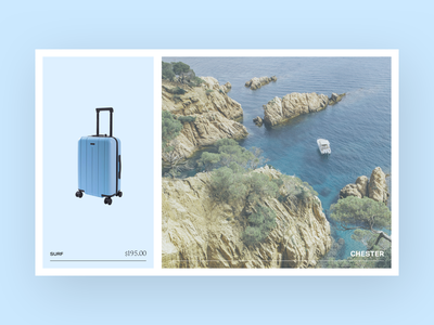 Chester Brand Collateral border card ocean blue print traveling luggage photography polaroid postcard travel suitcase clean design minimal brand branding