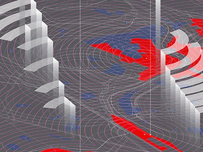 Measuring proximities.  gsd gis mapping surface graphics illustration architecture