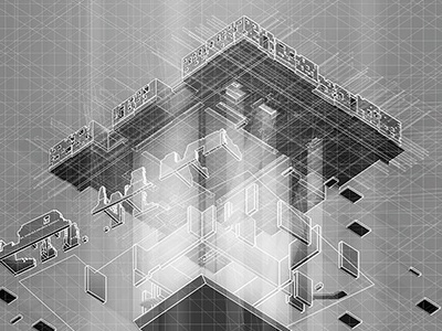 Ruinscape. gsd perspective section surface graphics illustration architecture