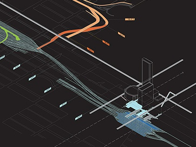 Slow-Fast, High-Low rendering perspective urbanism surface architecture design graphics illustration