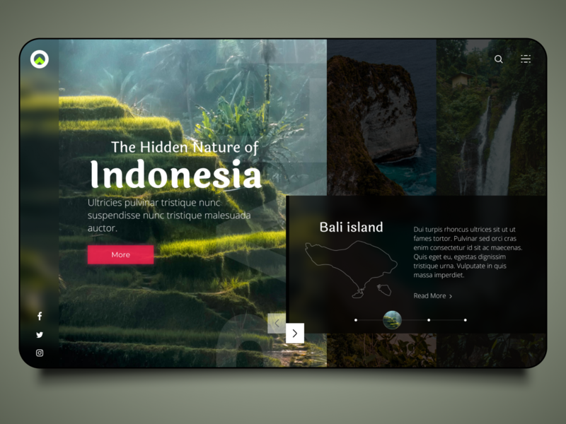 The hidden nature or Indonesia island rice fields mountain bali indonesia travel nature figmadesign figma design ui  ux concept design ui design