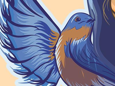 Bluebirds Detail bluebird portrait wip poster illustration