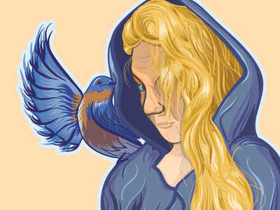 Bluebirds Vector Portrait vector bluebird portrait wip poster illustration