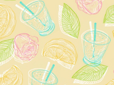 summer vibes leaves mojito drink leaf lemon rose drawing summer illustration