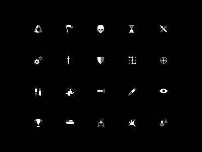Game icon set bullet shot guns shooter ui skill war minimal icons game