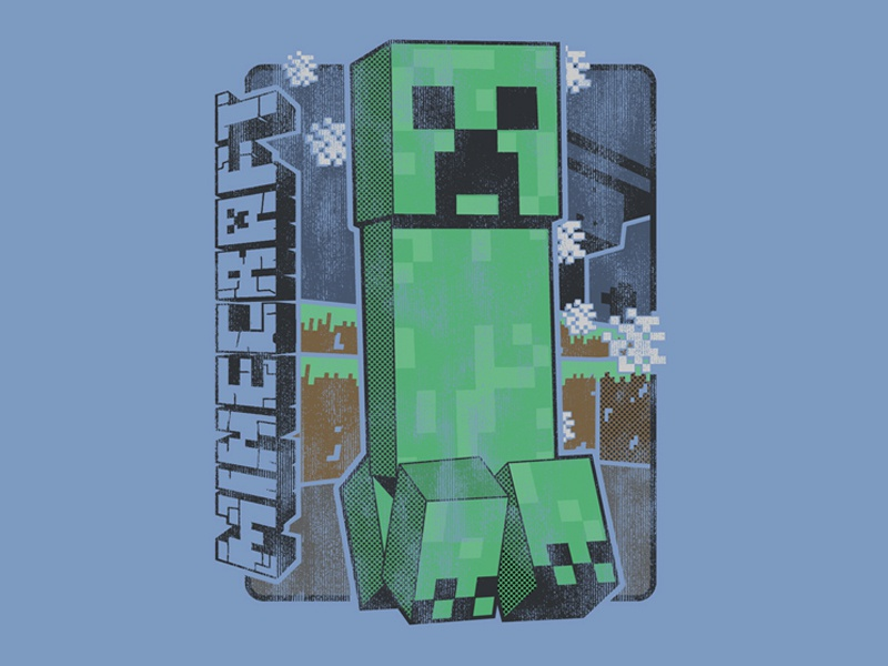 Minecraft Creeper video games tshirt tees graphic design licensed retail creeper vintage minecraft