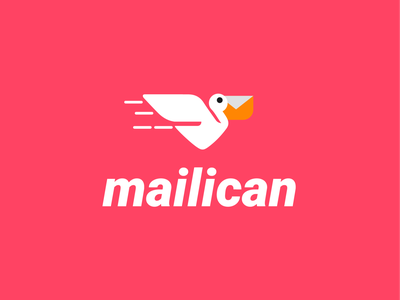 mailican email + pelican speed fast fly email pelican bird design animal creative clever minimal simple logo