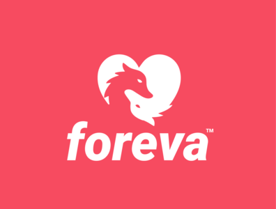 foreva dating negativespace heart love couple wolf design animal creative clever minimal simple logo