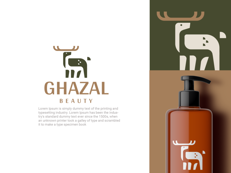 Ghazal cosmetic forest beauty deer design animal creative clever minimal simple logo