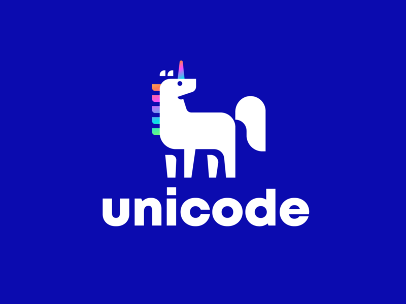 unicode horse unicorn design animal creative clever minimal simple logo